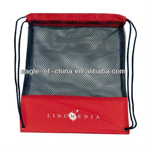 promotional nylon mesh drawstring backpack bag