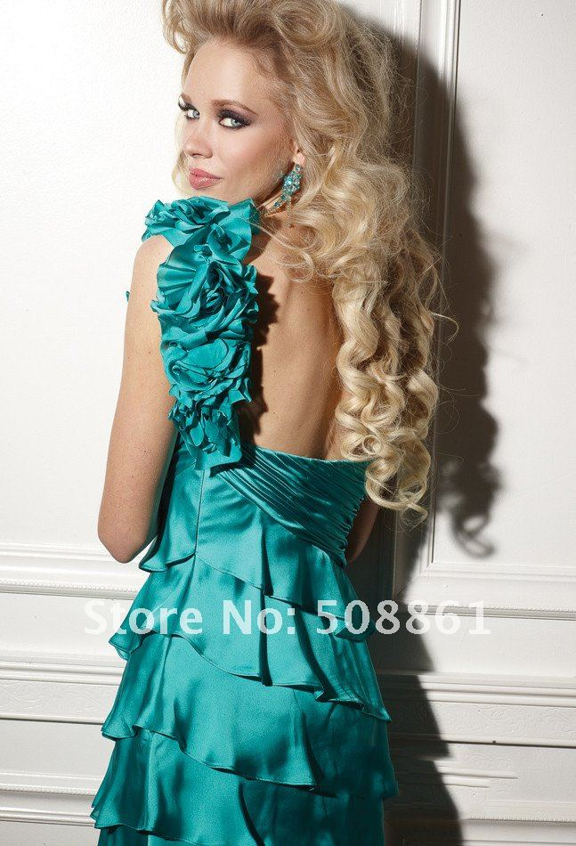 Elegant one shoulder tiered satin fashion ladies evening short dresses