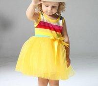 Платье для девочек 2013 girls princess tutu dress rainbow striped dress kids clothing, 356