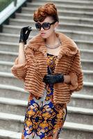 новый подлинный высочайшего качества, Кролик Рекс Мех Шаль пончо пальто куртки пальто-элегантный