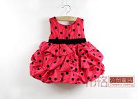 Розничная Мода красный / розовый большим бантом точка детей девочек платья принцессы платье детское