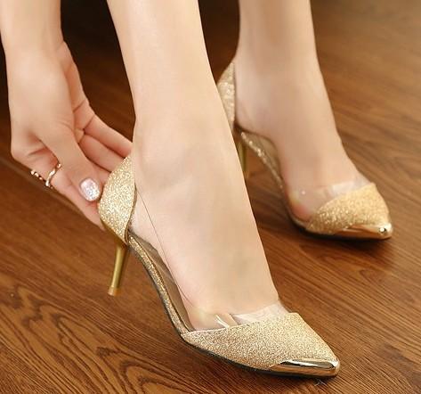 Gold Mid Heel Pumps | Tsaa Heel