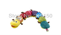 FREE SHIPPING----1pcs/lot New Hot Sale baby Musical Inchworm toys children's pullerstring polychrome insect design with BB ring