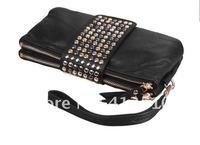 Вечерняя сумка Korean Style PU Leather fashion Handbag designer Rivet Lady wallet Clutch Purse Evening Bag
