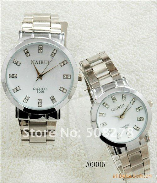 Luxury stainless steel watch for man and womman, lover watch with factory price 5 pairs free shipping