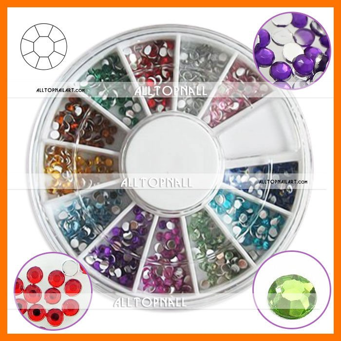 rhinestones on nails. 12 Colors Rhinestones For Nails Wheel Round.jpg
