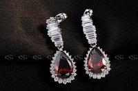 Серьги висячие G&S Valentine's day Gift swiss CZ Platinum plating silver luxury red earrings arrow heart cuting water Drop earrings10200021296