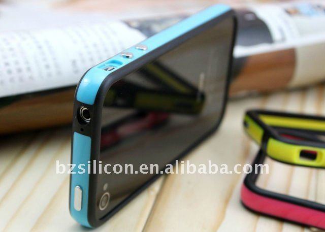 for iphone4g two meterial plastic and silicone bumper case