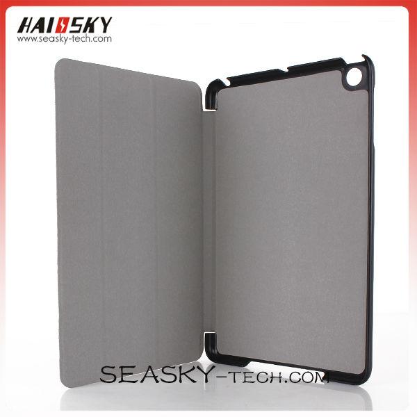 Three fold PU and PC leather case for ipad mini