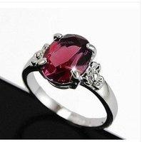 Inlay Ruby 18KGP Swarovski Crystal Charm Flower Ring