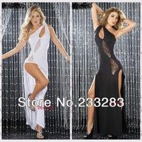 Вечернее платье Sexy Dresses Oblique Temperament Dress Latin Dance clothing with One Shoulder White Black Women Dress LT024