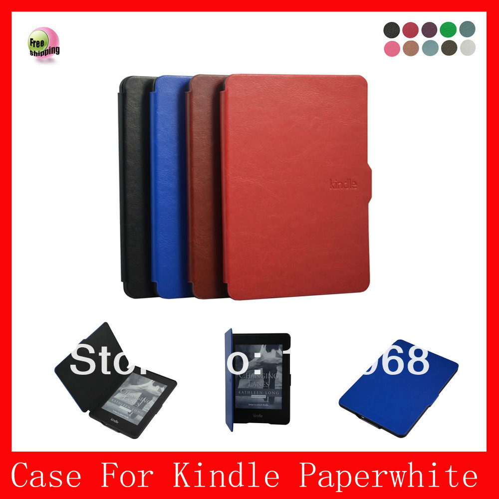 Auto wake sleep function,High quality PU Leather Case for Amazon All-New kindle Paperwhite 6'' eReader,Blue