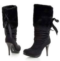 Цена леди сексуальный зима теплая высокий каблук обувь дамы замши круглый носок ботинки женщин 's утолщаются снега сапоги для женщин sc012