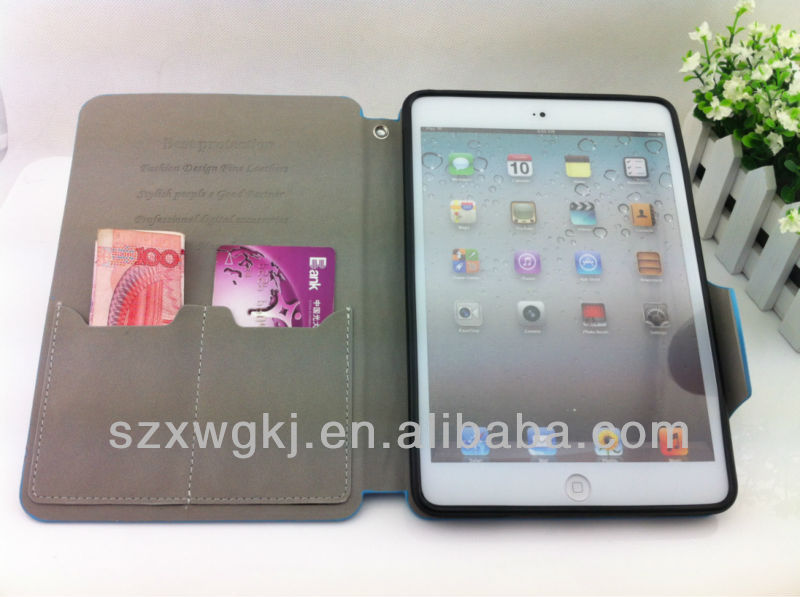 PROTECTIVE LEATHER BOOK-STYLE COVER WITH STAND FOR IPAD MINI CASE