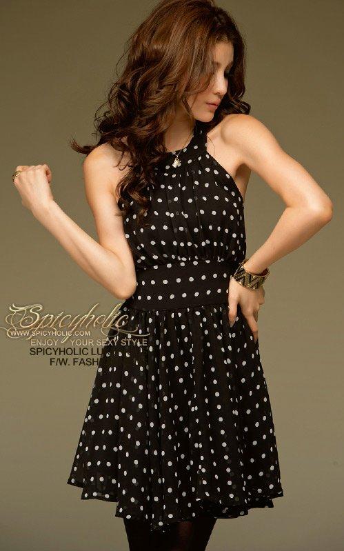 Фото черное платье в белый горошек