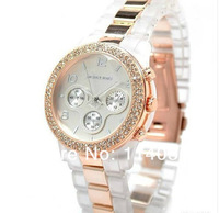Наручные часы by china post two diamond around New MK Watch+Plastic Clear Strap and japan movement/1 colors