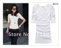 Женская футболка At a sale! 2013 Newest elastic solid bubble sleeve women fashion T-shirts 100% cotton Size 6 colors