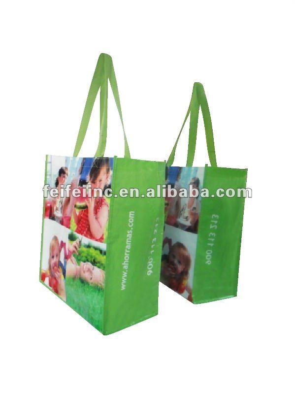 Glossy laminated PP woven shopping bag
