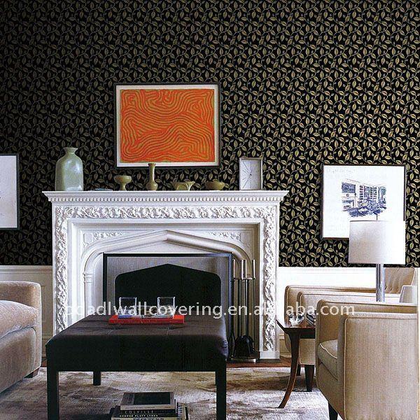 Te negro de la hoja de diseño de papel tapiz para chimenea fondos ...