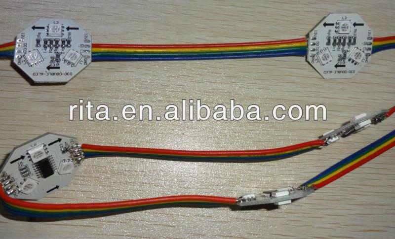 40 pcs DC12V WS2801 numérique pcb, Non - imperméable à l'eau ; 6 pcs 5050 SMD RGB LED ; taille double ; 25 mm diamètre