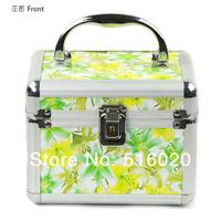 Косметичка 170*130*130mm Professional Alumimum PVC Stylish Cosmetics Makeup Kit Storage Beauty Organizer Train Case Box factory supply