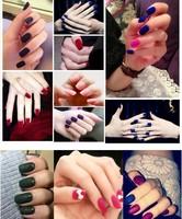 Накладные ногти 10X Green Velvet nail Color 3D Nail Art Color Flocking Powder Nails Tips 70pcs/set