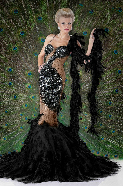 Long Prom Dresses With Feathers Long Peacock Feather Prom