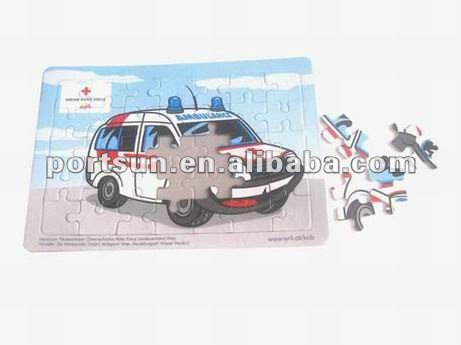 children paper jigsaw puzzle with car
