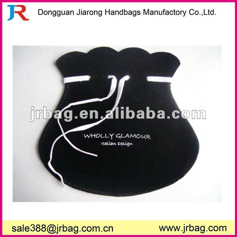 2014 Promotional Black Round Drawstring Velvet Gift Bags