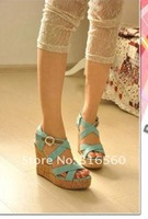Женские сандалии Best selling! women 2012 sandals rome style ankle buckle cross band high heels lady shoes woman 1pair