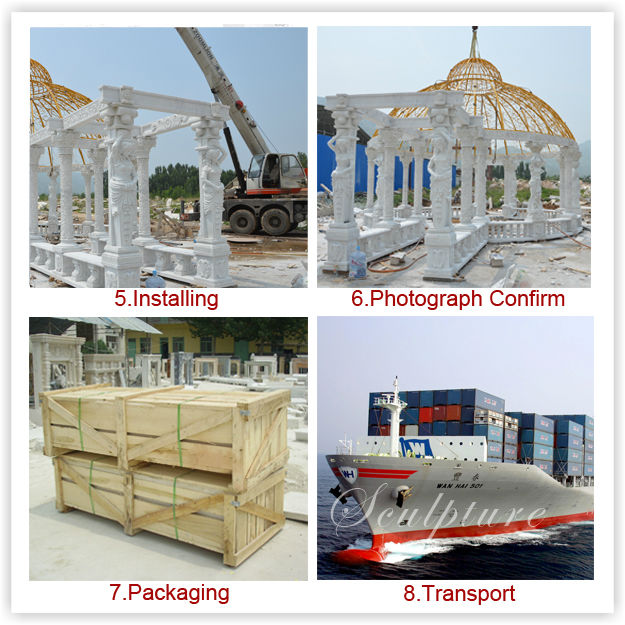 Iron roof covering stone carved factory directlly promotional gazebos