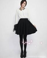 ретро блестки воротник передней складки с длинным рукавом, женщин блузки 3 цвета размер s, m, l