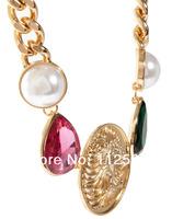 Колье-цепь temperament gold lion pendant necklace for women short precious stone necklace chain female animal head necklace