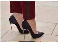 Туфли на высоком каблуке Celebrity shoes Pointed high heel pumps100% genuine leather women dress shoe iron heels 34-42