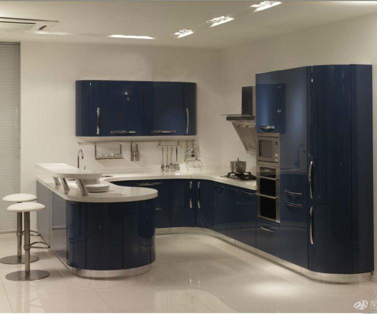 Cor azul projeto da cozinha armário de cozinha acabamento em lacaArmários de # Armario De Cozinha Planejado Azul