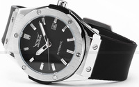Наручные часы SG post or HK post JARAGAR Brands Silver Stainless Steel Case Analog Automatic Mechanical Silicon Sports Mens Watches With Date