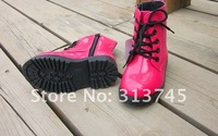 Free shipping  2012  girls  coat of paint, bright face, Martin boots. Children's boy, girl tall waist coat of paint single shoes
