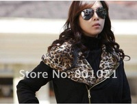 Женские толстовки и Кофты New Year Christmas Fashion Leopard Embellished Zipper Coat Black High Quality Hoodies