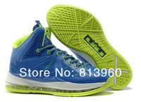 EMS FREE Shipping 2013 lebron shoes X lebrons 10 x basketball sneaker branded Blue Green
