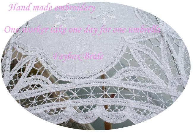 Luxe nobele elegante goed gemaakt in katoen battenburg kant en met de hand gemaakt borduurwerk - Paraplu katoen ...