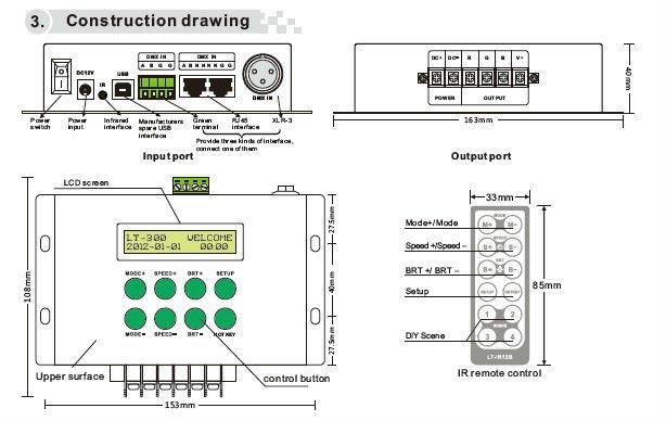LT-300 RGB/DMX Controller;DMX decoder;DC12-24V input,max 8A*3channel output