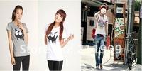 женская одежда, корейское издание, летом носят футболки, короткий рукав, campuswear, концертные костюмы