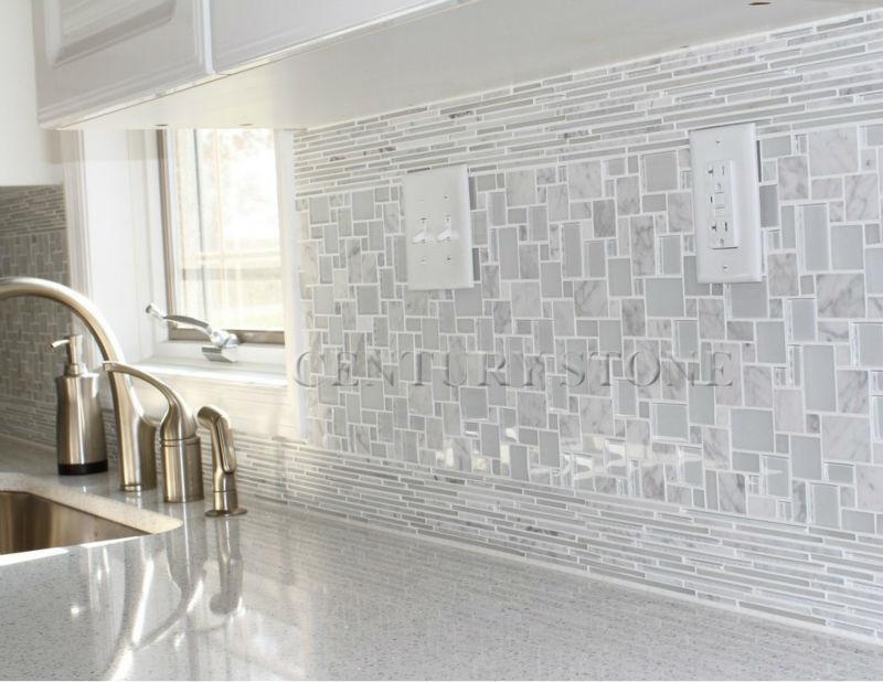 Magia modelo de vidrio y marmol carrara blanco mezclado backsplash ...