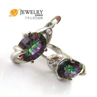 Серьги-клипсы Fine Jewelry UNIQUE 3.8ct Mystic Topaz Earrings 925 Sterling Silver