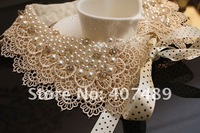 Min order is $10(Mix order) 2012 Fashion Lace Collar 100% Made In Hand Genuine Pearl Collar Luxurious Necklaces