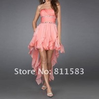 ladies chiffon cocktail party prom formal gown front short back long dress free shipping