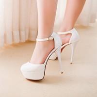большой размер, 34-43 новые сексуальные 15 см каблуке насосы платформа женщин круглый носок сандалии платье обувь Свадьба Обувь красный снизу