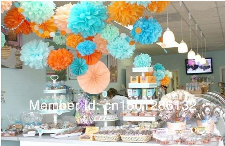 orange and baby blue wedding ideas poms wedding party decor