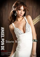Женское платье Womens Low Cut V-neck Strappy Backless Jewel Full-length Long Evening Gown Long Dress #B51501