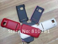 200pcs/много углерода флип кожаный чехол для nokia 808 pureview
